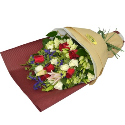 One Steam of Red Lily with Six Red and Six White Roses Bouquet