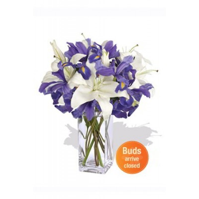 Oriental and Iris Bouquet ,3 Lily and 8 Iris Vase Bouquet